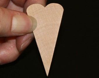 Unfinished Wood Heart Primitive - 2 inches tall by 1 inch wide and 1/8 inch thick wooden shape (WW-JC4112)