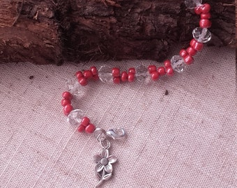 Red and crystal beaded bracelet