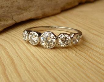 5 Stone Bezel Set Diamond Band