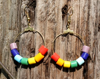 Rainbow Earrings - Gold Hoop Earrings - ROYGBIV - Colorful Earrings - Rainbow Jewelry - Dangle Hoops - Christian Symbol - Two Feathers