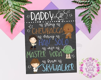 Star Wars Chalkboard Father's Day Gift (Chewie, Han Solo, Yoda, Luke Skywalker) Digital Design - Printable