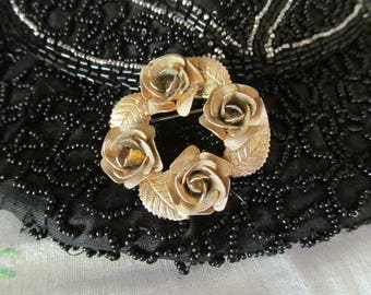 Gold Tone Rose Brooch, Round Floral Pin, Vintage