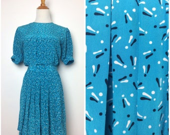 Vintage 80s Dress/ 80s Silk Exclamation Point Printed Short Sleeve Dress/ Small