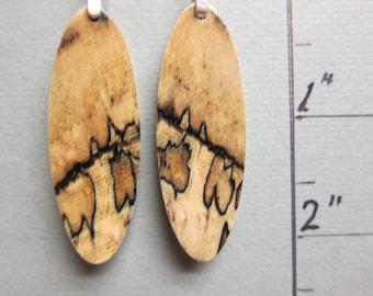 Spalted Hackberry Earrings  Exotic Wood long dangle handcrafted ExoticwoodJewelryAnd ecofriendly