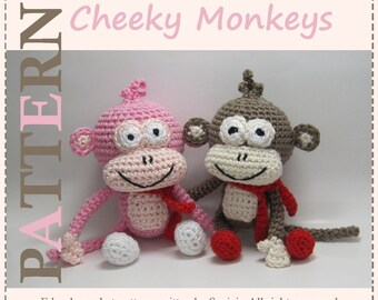 ENGLISH Instructions - Instant Download PDF Crochet Pattern Cheeky Monkeys