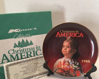 Vintage Collectible Decorative Plate~ Christmas in America~ 1988~ KMart