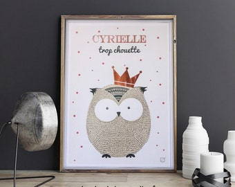 Poster OWL customized with Crown in gilding & name in gilding - customizable - gilding - colour-decorating - child - room