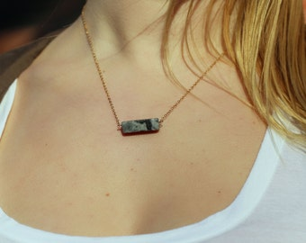 Gray Marble Block Necklace on a 14kt Gold-Filled Chain