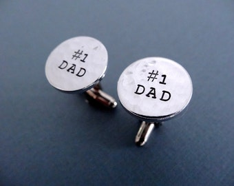 No. 1 Dad Cufflinks - Personalized Custom Hand stamped Cufflinks - Dad Cufflinks