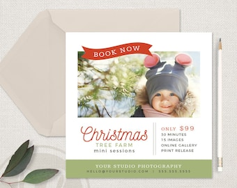 Christmas Tree Farm - Christmas Mini Session Template, Christmas Marketing Board, Holiday Mini Session Template, Holiday Marketing