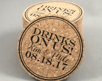 Drinks on Us Cork Coaster Wedding Favors Personalized with Names and Wedding Date // Cork Coaster Wedding Favors for Guests