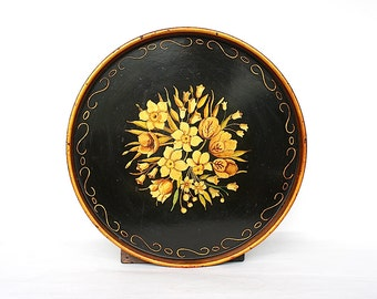 Antique Tray - Hand Painted Tray - Decorative Tray - Metal Tray - Toleware Tray - Round Tray -Vintage Tray - Floral Tray -Antique Metal Tray