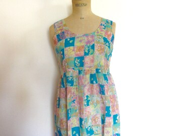 vintage 60s sundress babydoll print summer dress ~ size S