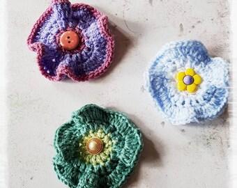 Crochet flower brooch,  flower pin, crochet flower pin, crochet flower badge, mothers day