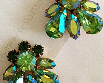 Sale!  Vintage Coro rhinestone earrings green AB stones beautiful colors excellent condition