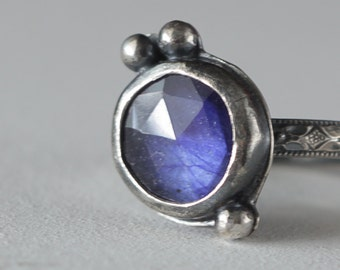 Tiny Blue Rose Cut Sapphire and Sterling Silver Ring, Boho Ring, Boho style, Genuine Sapphire