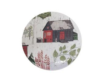 Pocket Mirror Stocking Stuffer • The Farmhouse • Beauty Gift Idea for Women • Vintage Look Beauty Accessory • Vintage Farm Print Foliage