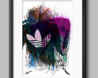 Adidas Jacket Abstract Wall Art Print / Poster Original Design A3, A2, A1, A0