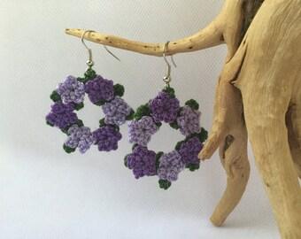 Crochet flower wreath earrings, flower earrings, purple flower earrings, crochet flower jewelry