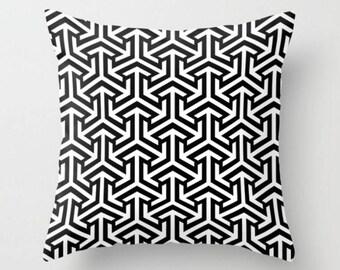 Geometric Cushion, Black White Pillow Case, Tribal Arrows Throw Pillow, Decorative Cushion Cover, Accent Decor Pillow, 16x16 18x18 20x20