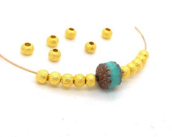 30 stardust beads 4mm spacer raw gold brass without nickel (pm206)