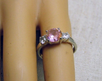 Sterling Silver and Pink Cubic Zirconia Ring  Size 6.75
