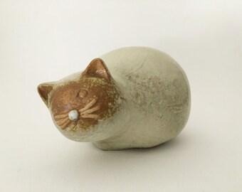 Vintage Mid Century Modern stoneware round glazed cat
