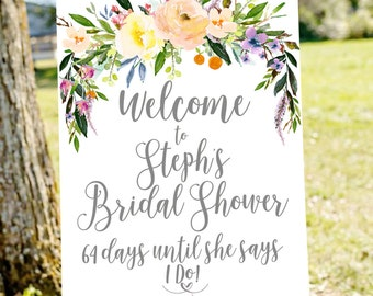 bridal shower sign, bridal shower welcome sign, Bridal countdown, wedding countdown sign,  printable welcome sign, Gold bridal shower