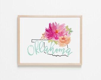 Oklahoma Horizontal Floral Nursery Art. Nursery Wall Art. Nursery Prints. Oklahoma Wall Art. State Wall Art. Floral Wall Art.
