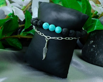 Turquoise, Lava and Sterling Silver Bracelet