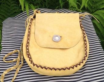 Vintage Suede Leather Boho Fringe Crossbody Purse.. Yellow Suede.. Bone Button Closure..Curio 151.. Handmade..