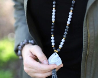 Stone Pendant Tassel Necklace