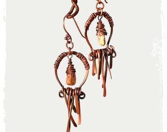 Southwestern copper earrings - Boho chic cowgirl earrings - Rustic bohemian earrings - 7th anniversary gift for her - Handmade OOAK