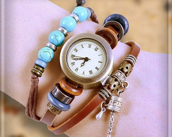 Wrap Watch genuine leather, Roman numerals, With Wood, Crystal, and Metal Charms, Turquoise Beads, Retro,  wrist watch, quartz, Color: Brown