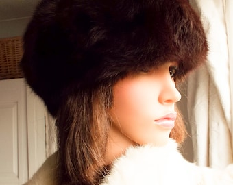 Vintage ermine fur hat Real ermine hat 1950s dark chocolate brown fur hat Genuine fur hat Brown mink hat High quality ermine fur hat