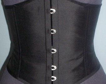Black silk dupion steel boned waist cincher