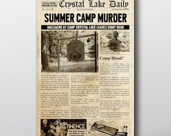 Friday the 13th Inspired Mock Newspaper Art Print