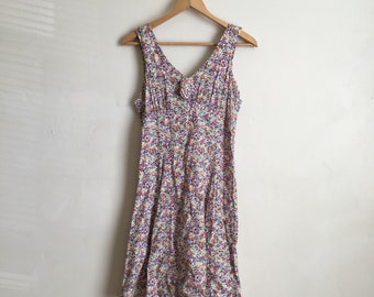 Vintage 1990's Rampage Ditsy Floral Mini Skater Dress Size 9 fits S/M 100% Rayon