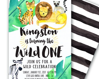 Wild ONE Invitation Party Animals Invitation First Birthday Invitation 5x7 Jungle Animals Wild One Birthday Animal Birthday Party Jungle