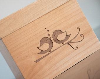 Recipe Box - Engraved Lovebirds