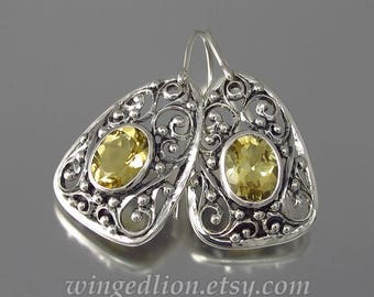 GERTRUDE silver earrings with Golden Beryl - Ready to ship