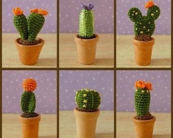 PDF PATTERN To Crochet 6 Miniature Amigurumi Cactus Plants