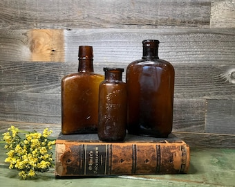 Amber Colored BOTTLES- Antique Brown Bottle Lot- Bromo-Lithia- Philadelphia Bottle- Medicinal Apothecary- B54