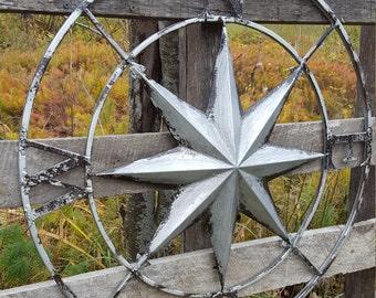 Silver Compass Rose, Large Metal Wall Art, Nautical Wall Art, Nautical Wall Compass, Metal Wall Decor, Nautical Wall Decor