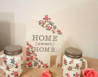 Pretty set  Cath Kidston pattern /salt and pepper dispenser/ home sweet home plaque/Gift