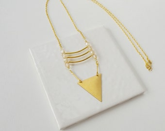 Long triangle necklace, triangle and bar ladder necklace, boho style