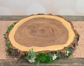Mossy Woodland Cake Stand ~ Rustic Wedding Cake Stand ~ Wood Slice Cake Plate ~ Large Wood Slab ~ Cake Stand ~ Summer Wedding ~
