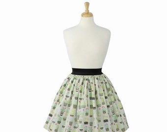 ON SALE!!Cute Cacti and Succulents Pleated Skirt
