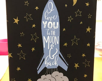 I Love You To The Moon and Back, Black Canvas