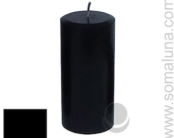 3 x 6.5 Black Classic Hand-poured Unscented Pillar Candles Solid Color